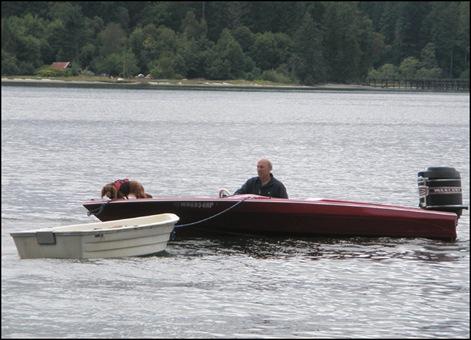 Harstine Vacation July 2008 John and Bailey mooring boat