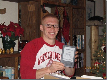 Nate and his new Kindle