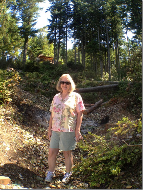 Helen in the Gully with Logs - 7-8-12