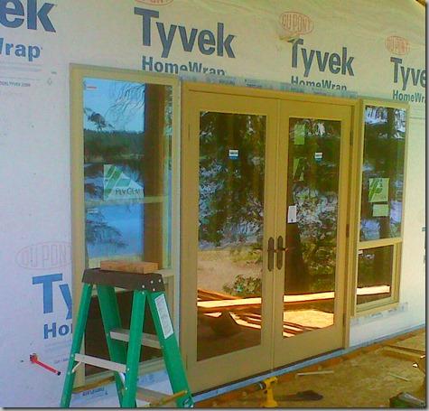 Bedroom Exterior Doors Installed - outside 7-24-13