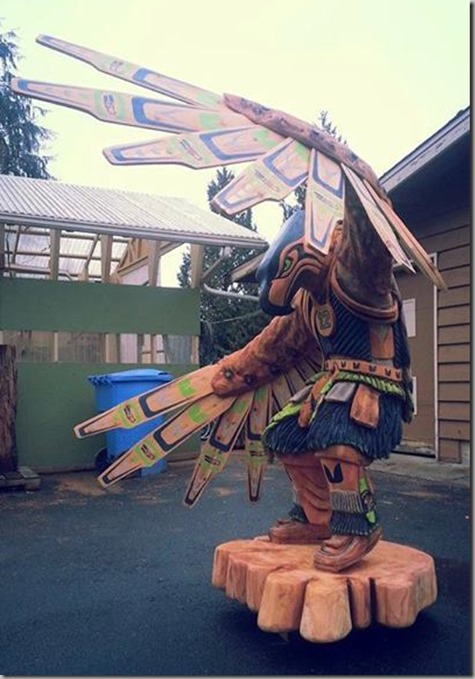 Seahawks Native Sculpture