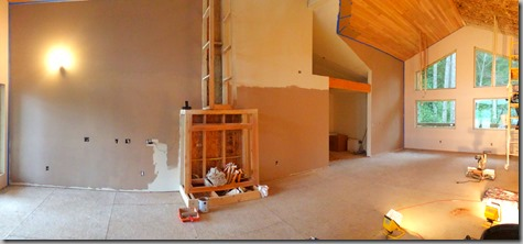 Pano of living-dining room painting in progress 1-19-14