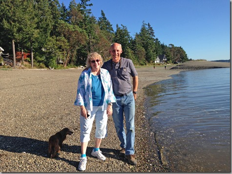 Tonya and John with Bailey on Harstine Beach 9-13-14