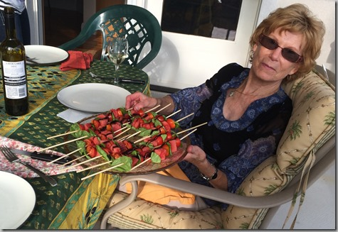 Kabobs with watermelon-basil-tomatoes so GOOD 8-15-15