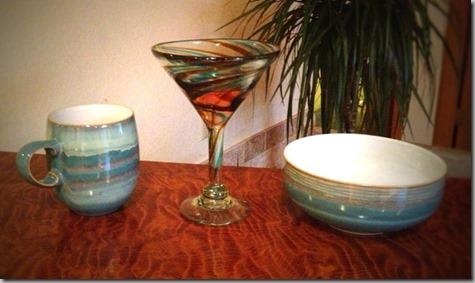 Dishes plus Martini Glasses