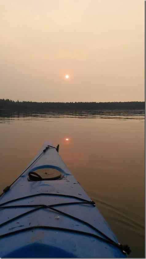 John Kayak Red Sun from Wildfire Smoke 8-22-15