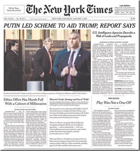 NYT Cover of Russia Hacks to Aid trump