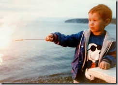 Nate 4 YO First Sparkler 4th of July 1990