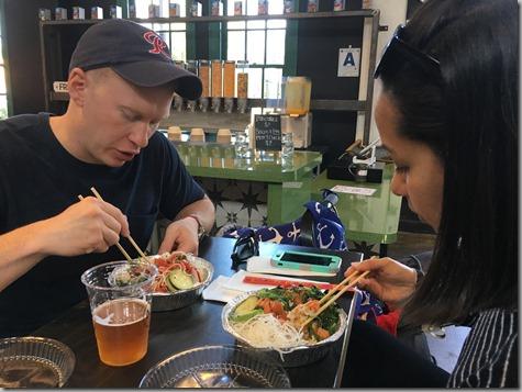 Nate and Sandra eating poke at Liberty Village 10-3-17