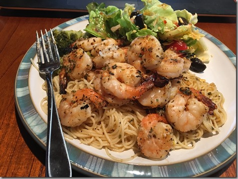 Marinaded Grilled Shrimp on Angel Hair 8-12-16