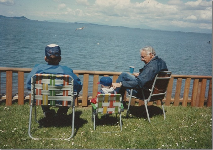 Nate with Uncle Bob and Papa Camano with Hujibachis 1988