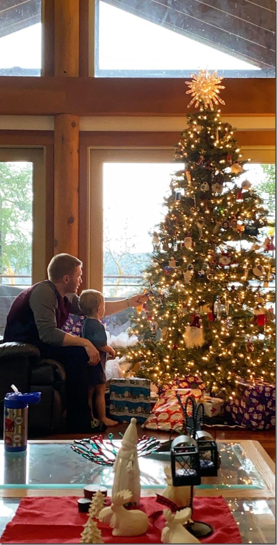 Quinn and Dada Looking at Ornaments-2 12-23-19
