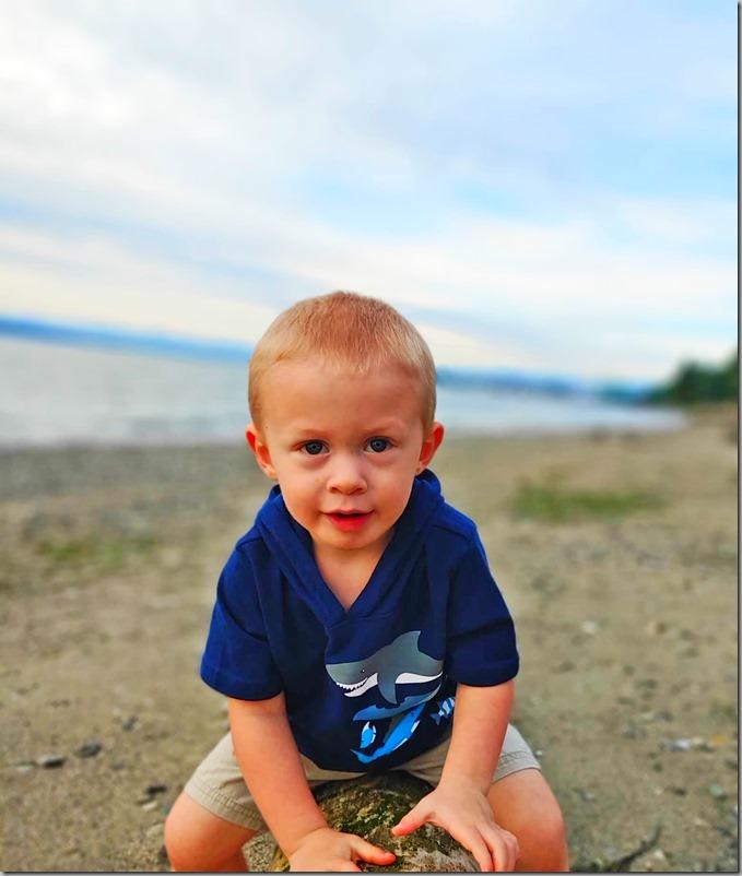 Quinn on Beach Log 5-28-20