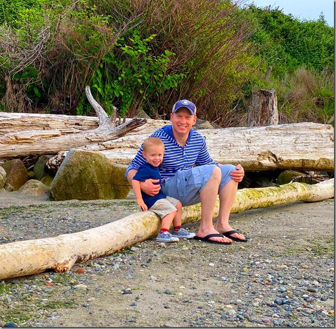 Nate and Quinn on Beach Log-3 5-28-20