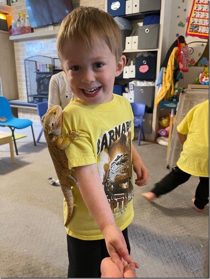 Quinn With a Lizard On Him 6-11-21